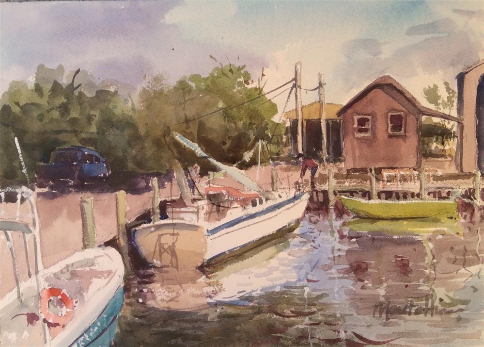 """Scott's Boatyard"" original fine art by Marita Hines"