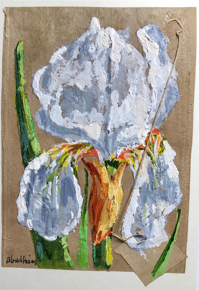 """Tea Bag Painting White Iris"" original fine art by Linda Blondheim"