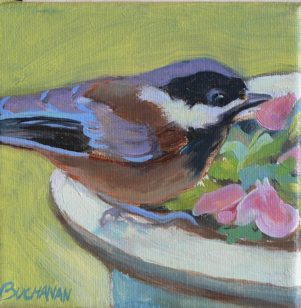 """""""Chickadee"""" original fine art by Leigh Buchanan"""