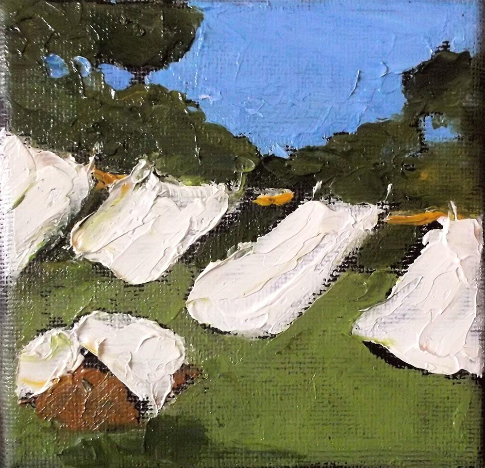 """Miniature Impressionist Painting 4x4 Plein Air California Landscape Laundry Wash Day Lynne French"" original fine art by lynne french"