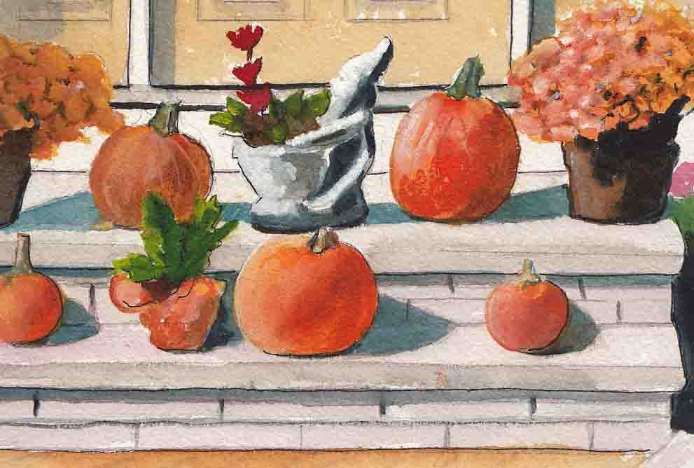 """""""Still Life with Pumpkins and Fall Flowers"""" original fine art by Bunny Griffeth"""