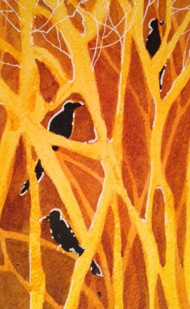 """Black Birds"" original fine art by Margie Whittington"