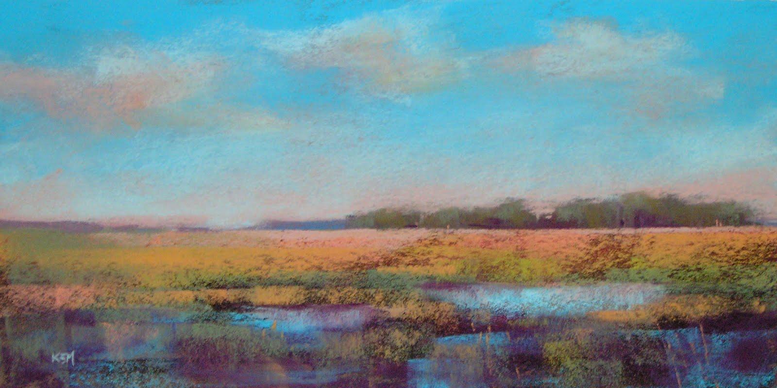 """Marsh View  9x18       mystery pastels"" original fine art by Karen Margulis"