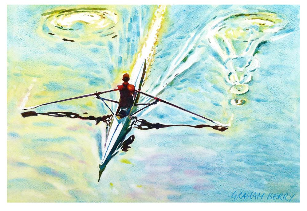 """Single scull"" original fine art by Graham Berry"