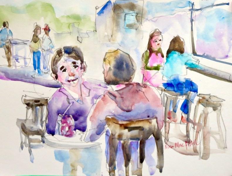 """take a long lunch"" original fine art by Nora MacPhail"