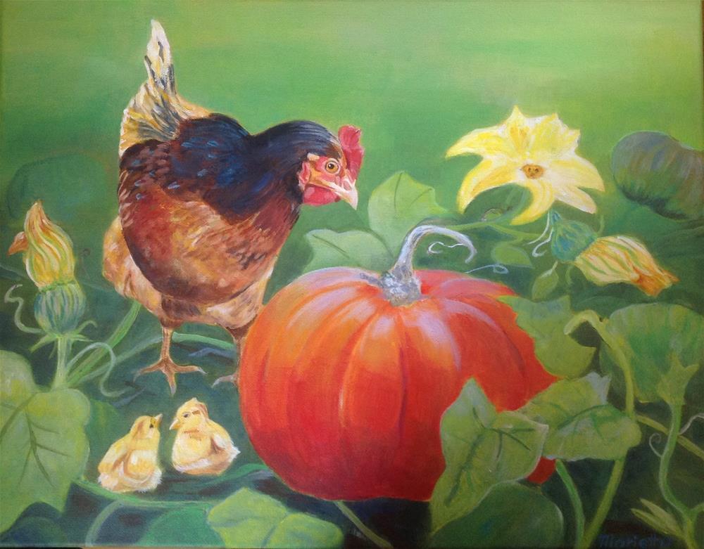"""""""  In the pumpkin patch! """" original fine art by Marietta Modl"""
