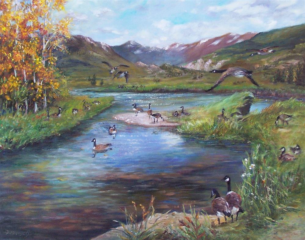 """""""Geese"""" original fine art by Donna Munsch"""
