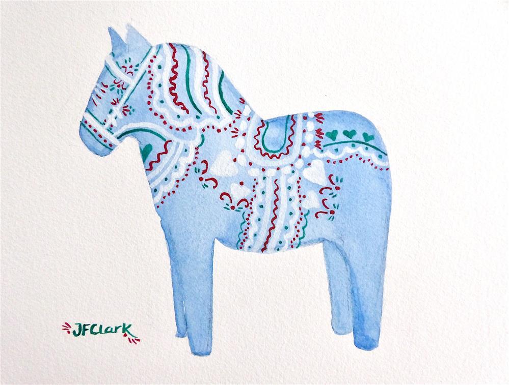 """Blue Dala Horse"" original fine art by Judith Freeman Clark"