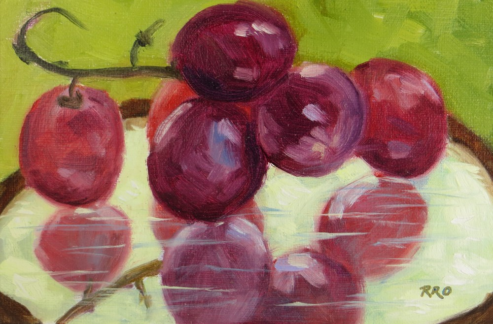 """Grapes on a Mirror"" original fine art by Rhett Regina Owings"