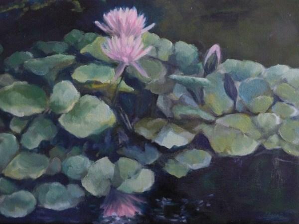 """""""Pink Water Lilies"""" original fine art by Lori L. Lamb"""