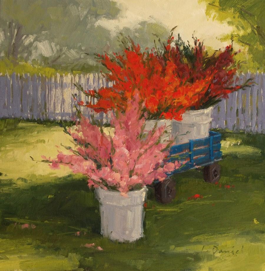 """Gladiolas on the Corner"" original fine art by Laurel Daniel"
