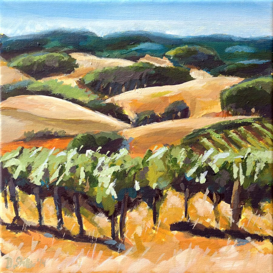 """1009 Vineyard Challenge"" original fine art by Dietmar Stiller"
