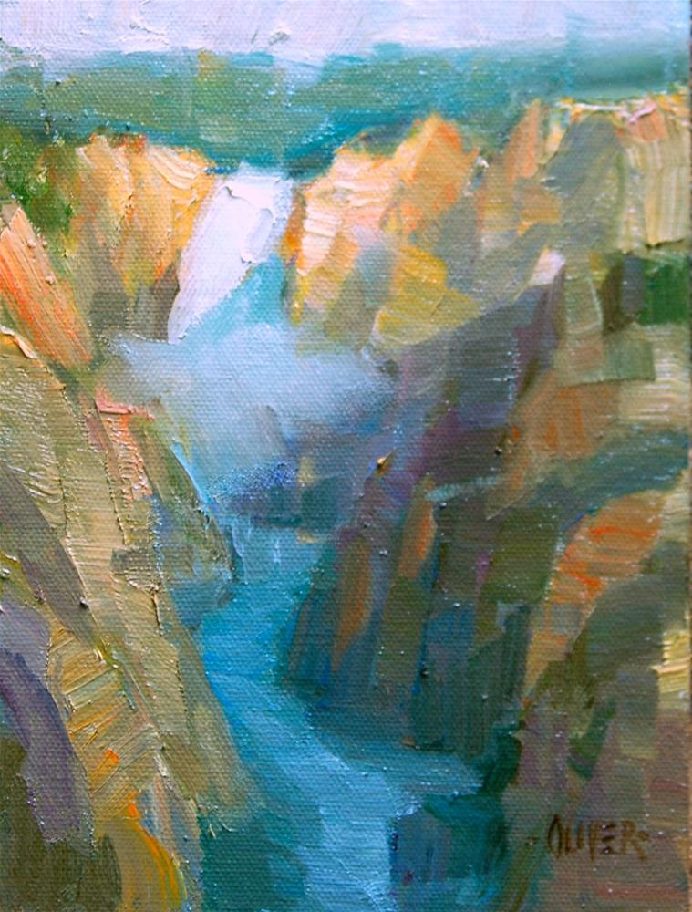 """""""Lower Falls - Yellowstone"""" original fine art by Julie Ford Oliver"""