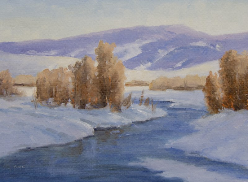 """Winter on the Gros Ventre"" original fine art by Bonnie Bowne"