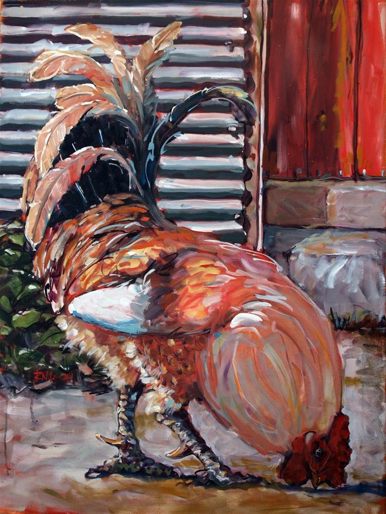 """""""Big Red (My little rooster)"""" original fine art by Rick Nilson"""