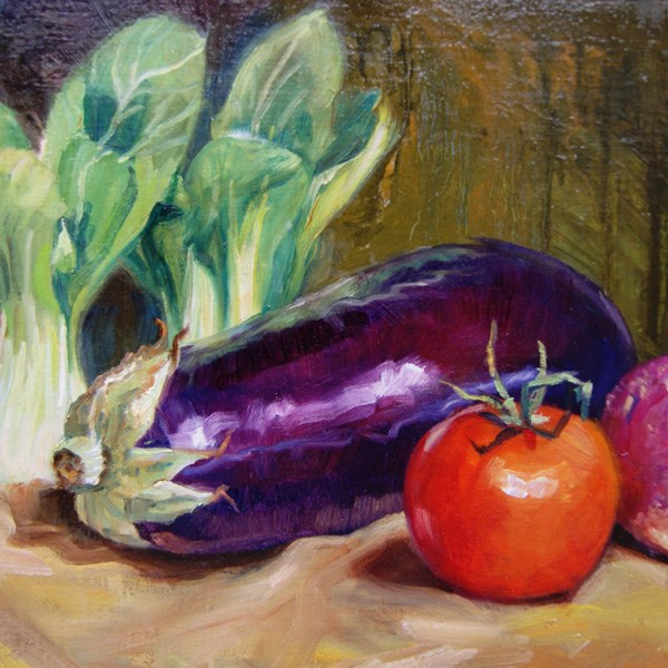 """Egg Plant and Tomato"" original fine art by Susan N Jarvis"