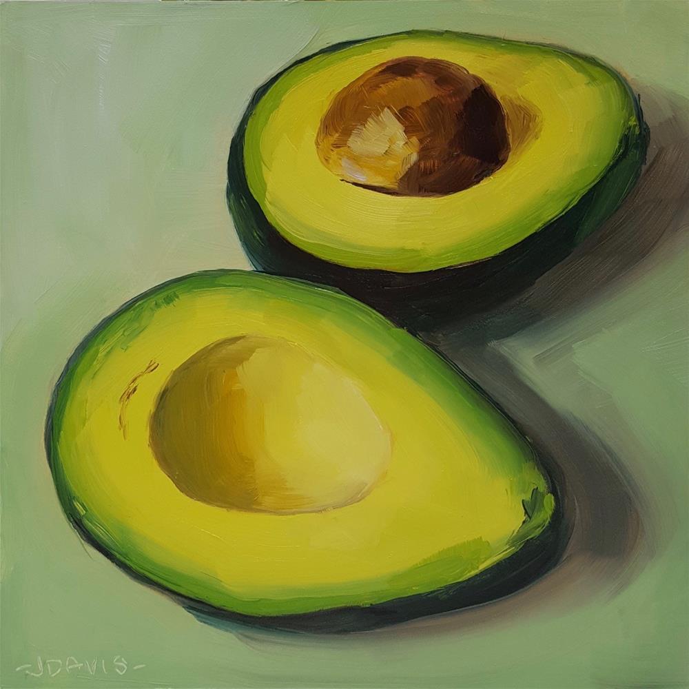 """Avocado in Green"" original fine art by Jacqueline Davis"