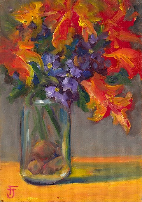 """Bouquet in Orange"" original fine art by Francine Dufour~Jones"