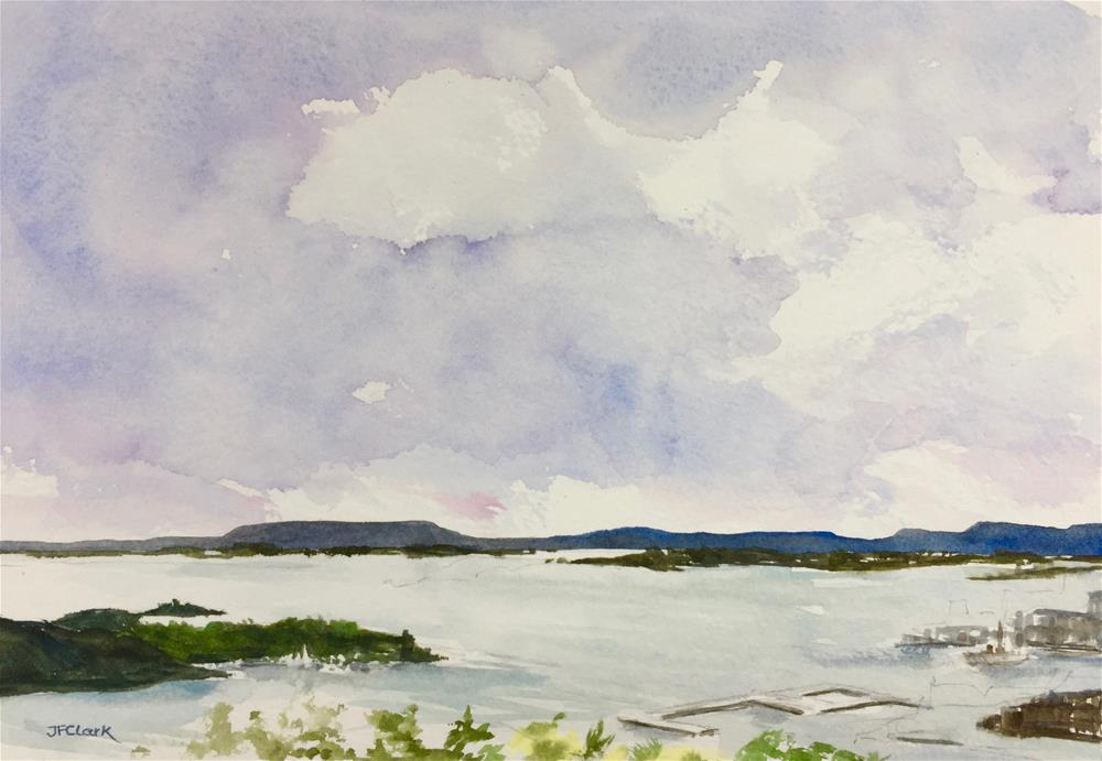 """Oslo Harbor seen from Ekbergparken"" original fine art by Judith Freeman Clark"