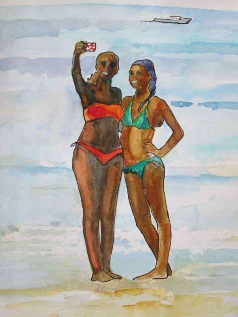 """""""Bathing Beauties Girls Just Wanna Paint Challenge. These two fabulous young girls were delighting themselves and me by taking 'selfless' on Wingaersheek Beach in Gloucester,MA."""" original fine art by Mary Sheehan Winn"""