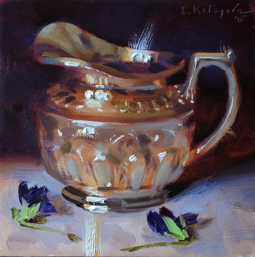"""Silver Jug and Pansies"" original fine art by Elena Katsyura"