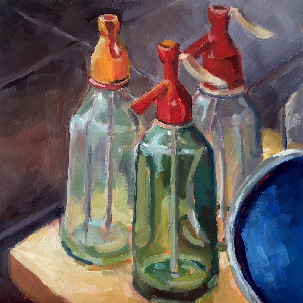 """Seltzer Bottles"" original fine art by Lisa Sotero"