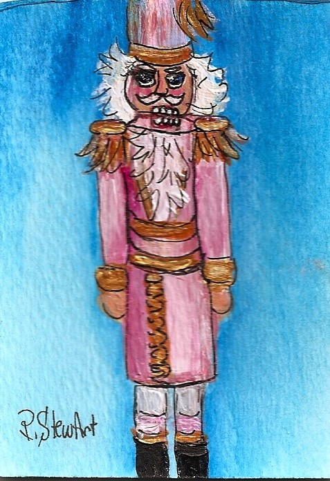 """ACEO Nutcracker Painting Tall Pink Gold Art Miniature Christmas SFA Penny StewArt"" original fine art by Penny Lee StewArt"