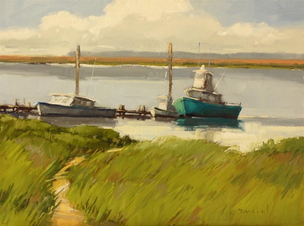 """Fishing Boats"" original fine art by Laurel Daniel"