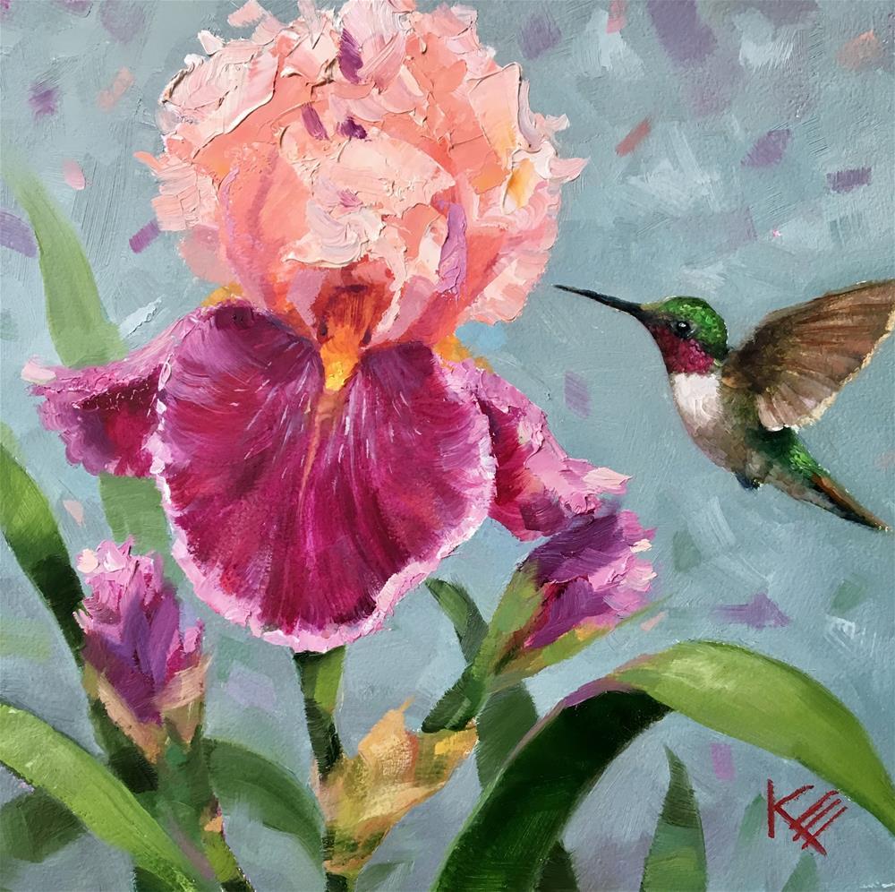 """Iris & Hummingbird"" original fine art by Krista Eaton"