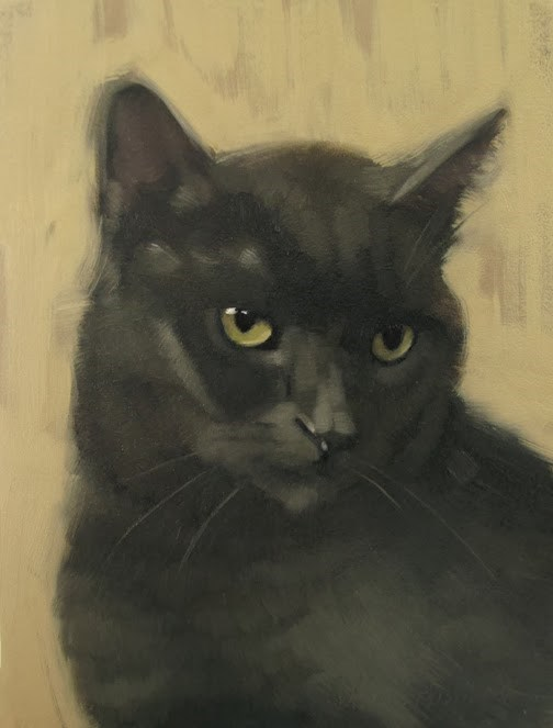 """Coco the Brave a cheesy post about the cat"" original fine art by Diane Hoeptner"