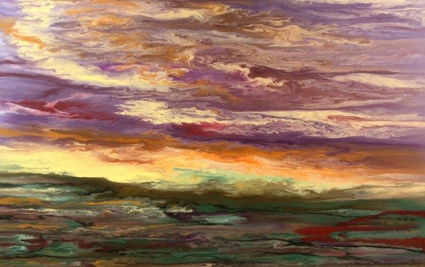 """""""Contemporary Abstract Landscape,Sunrise Painting Reflections on the Plains III by International Co"""" original fine art by Kimberly Conrad"""
