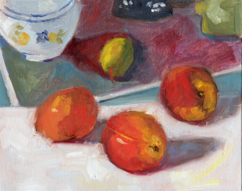 """""""Three Nectarines"""" original fine art by Marlene Lee"""