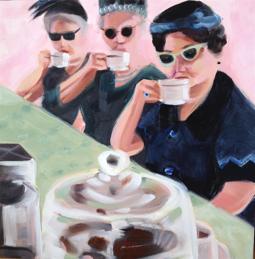 """""""A Trio for Tea"""" original fine art by Bev Thibault"""