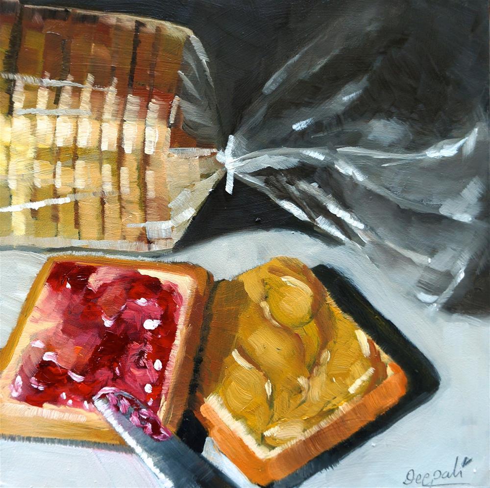 """""""PB&J with bread loaf"""" original fine art by Dipali Rabadiya"""