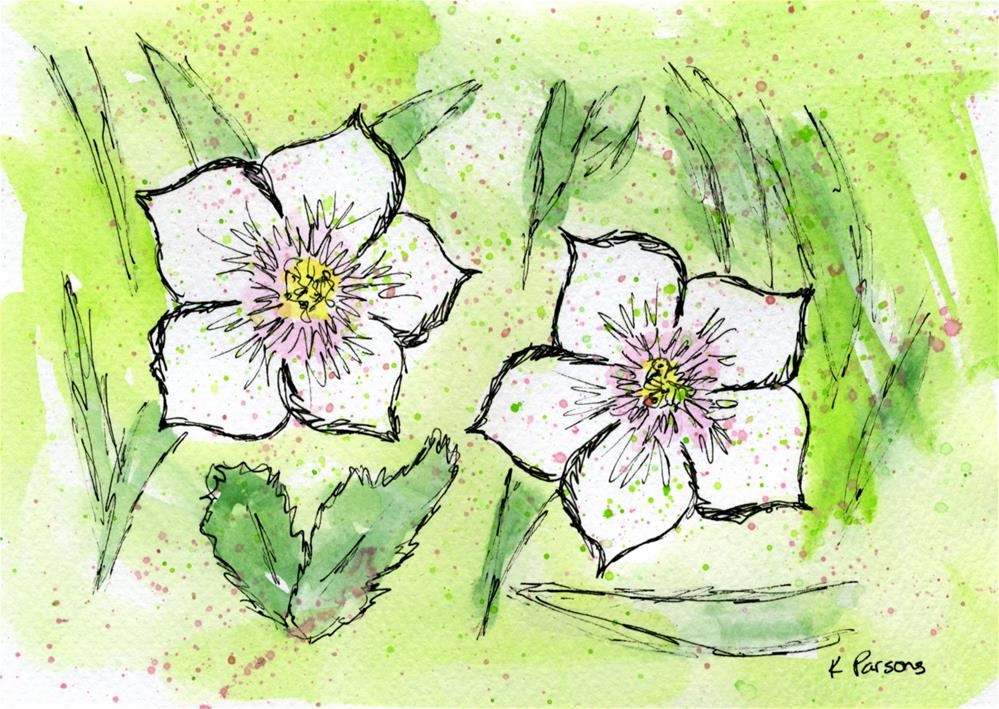 """""""Two Lovely White Flowers"""" original fine art by Kali Parsons"""