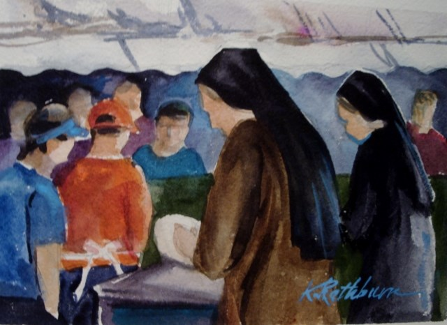 """""""Church Festival...everyone helps."""" original fine art by Kathy Los-Rathburn"""