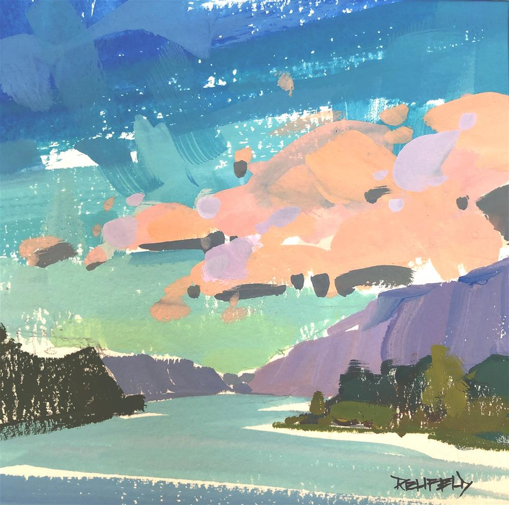 """""""Gorge Clouds - Gouache Painting"""" original fine art by Cathleen Rehfeld"""