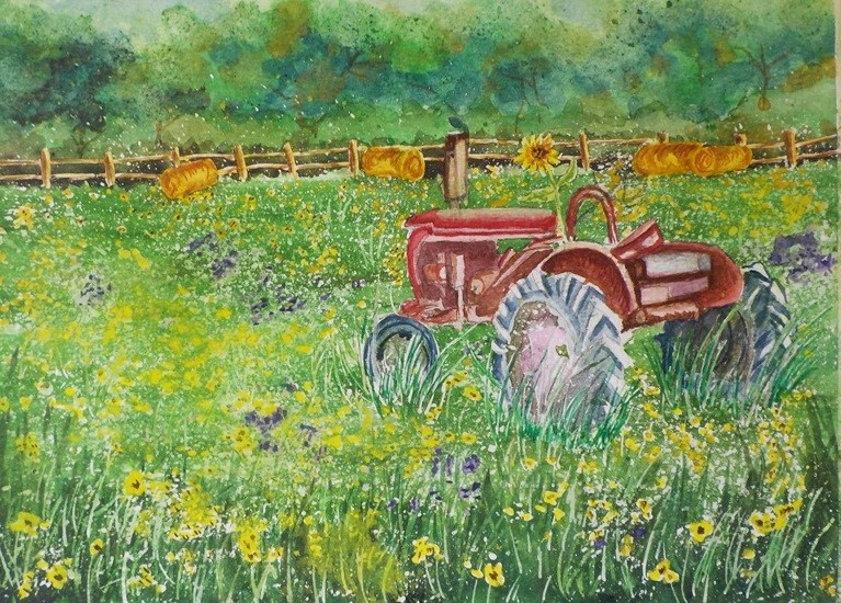 """""""Tractor in the Susans   #188"""" original fine art by Jim Whiteside"""
