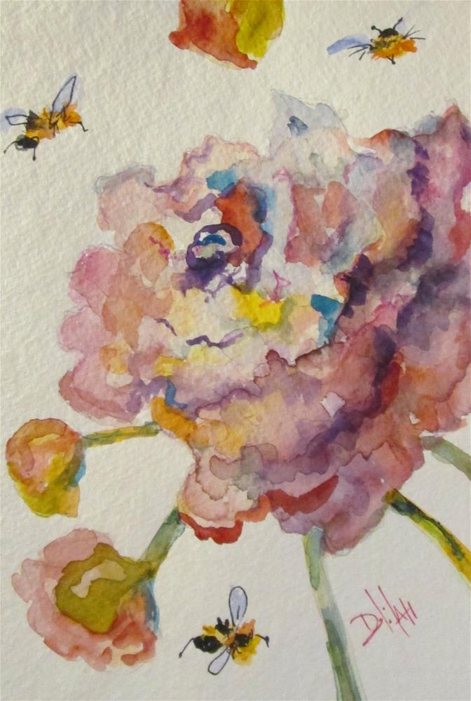 """Pink flowers with Bees"" original fine art by Delilah Smith"