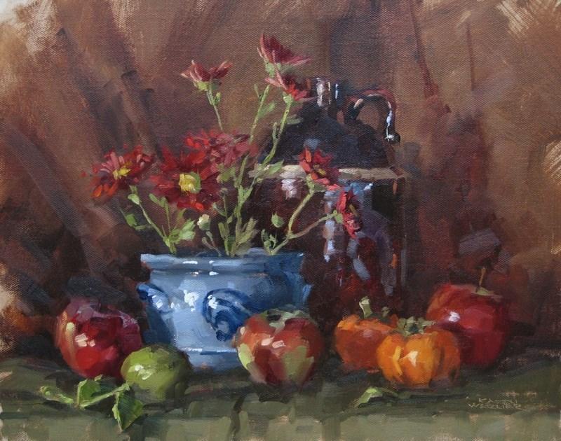 """Bossy Blue Crock"" original fine art by Karen Werner"