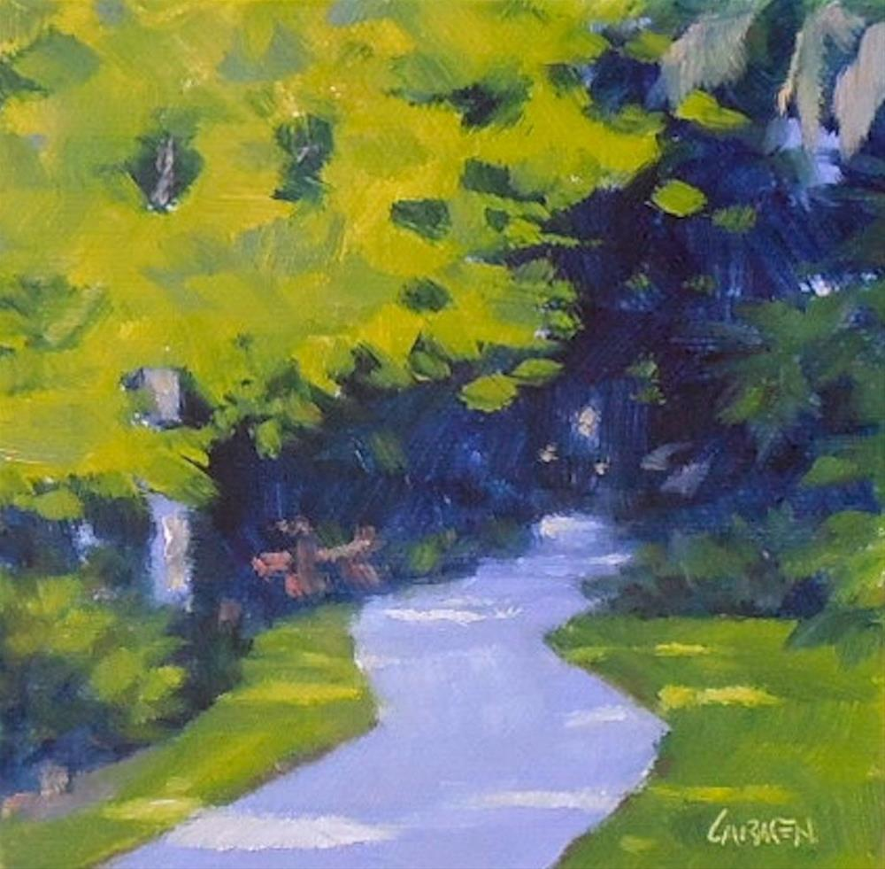 """Oil Painting, Down the Garden Path, 6x6, Oil on Canvas, Small Daily Painting"" original fine art by Carmen Beecher"