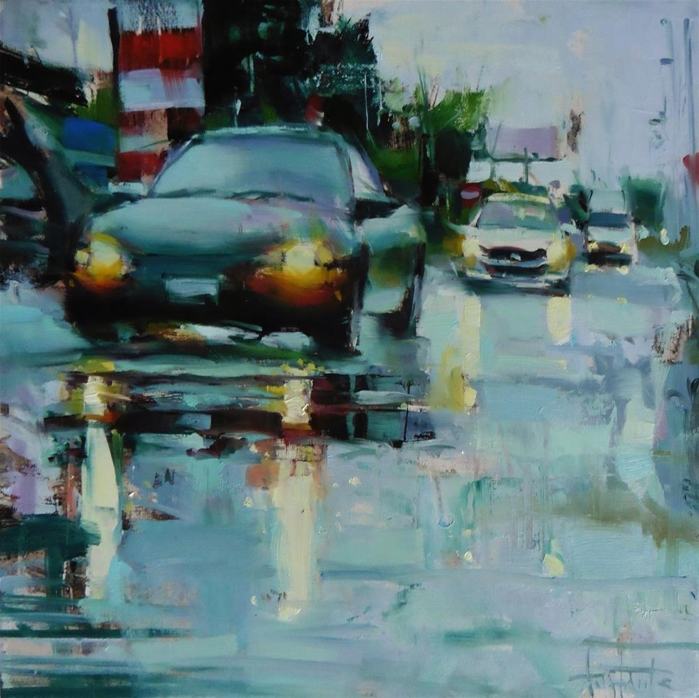"""Rainy´s day traffic"" original fine art by Víctor Tristante"