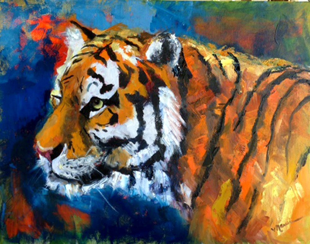 """A Tiger Named Auburn"" original fine art by Marcia Hodges"