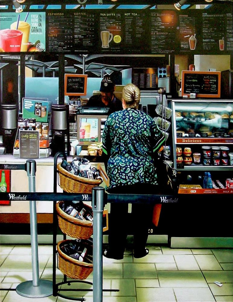 """Woman At Counter- Painting Of A Woman At A Coffee Bean Counter In LA"" original fine art by Gerard Boersma"
