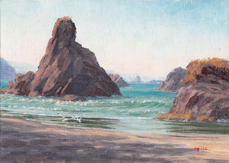 """""""C1561 """"Early Morning Shadows at Orford Rocks"""""""" original fine art by Steven Thor Johanneson"""