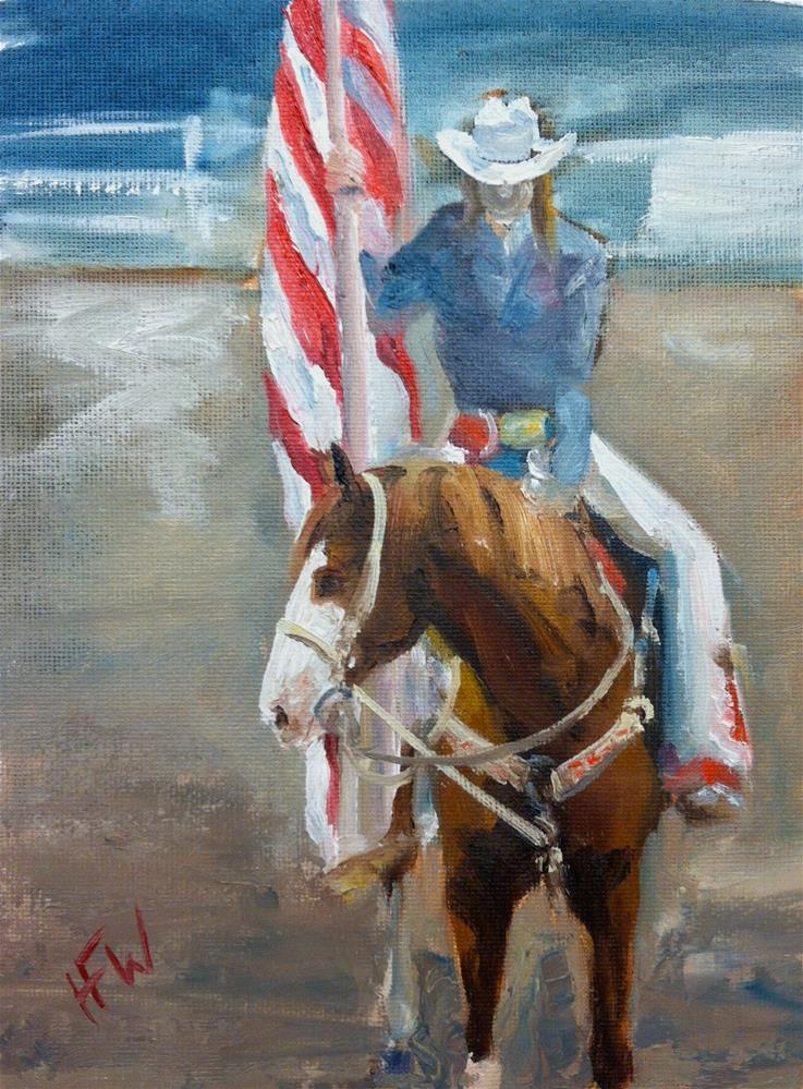"""""""National Anthem at the Cherokee Rodeo"""" original fine art by H.F. Wallen"""