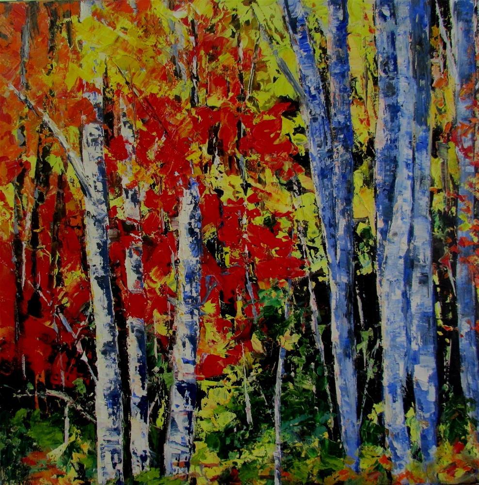 """""""18 x 18 inch oil Birches"""" original fine art by Linda Yurgensen"""