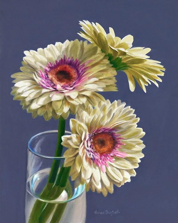 """Three Gerbera Daisies"" original fine art by Nance Danforth"