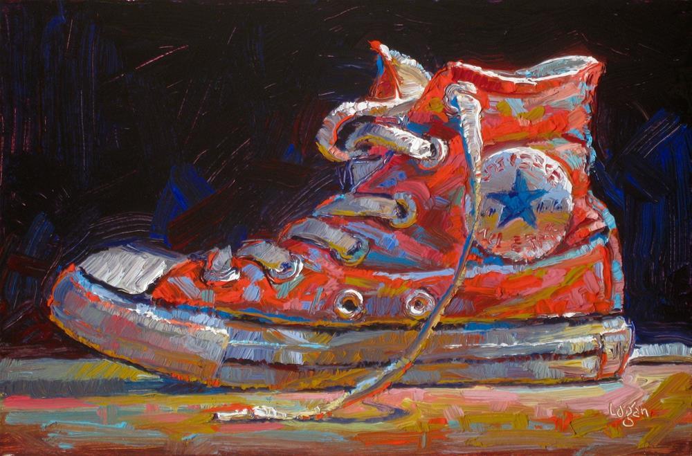 """Carol's Kind-of-Red Hi-Top"" original fine art by Raymond Logan"