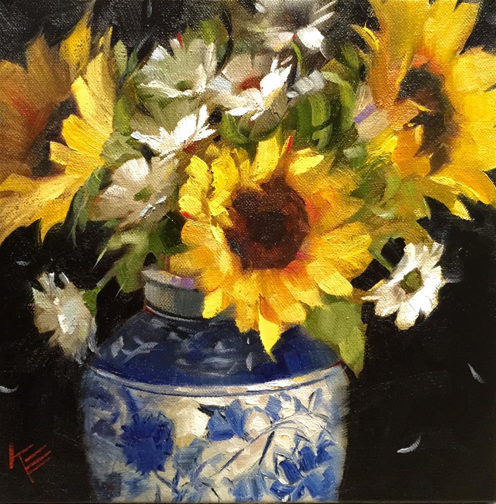 """Sunflowers in White & Blue"" original fine art by Krista Eaton"